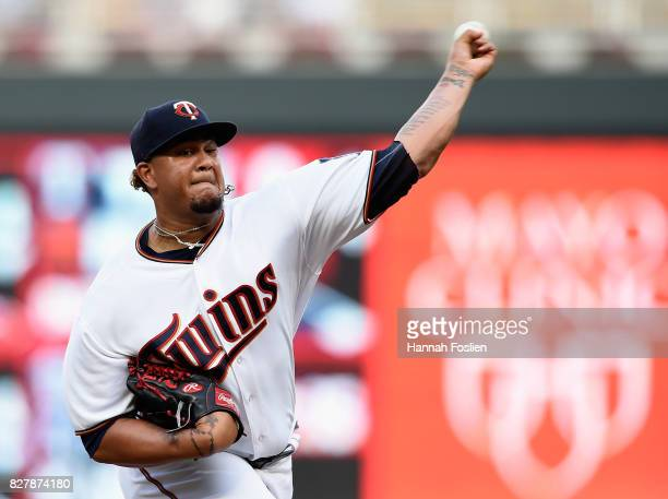 Adalberto Mejia of the Minnesota Twins delivers a pitch against the Milwaukee Brewers during the first inning of the game on August 8 2017 at Target...