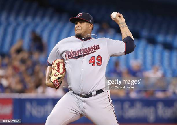 Adalberto Mejia of the Minnesota Twins delivers a pitch in the first inning during MLB game action against the Toronto Blue Jays at Rogers Centre on...