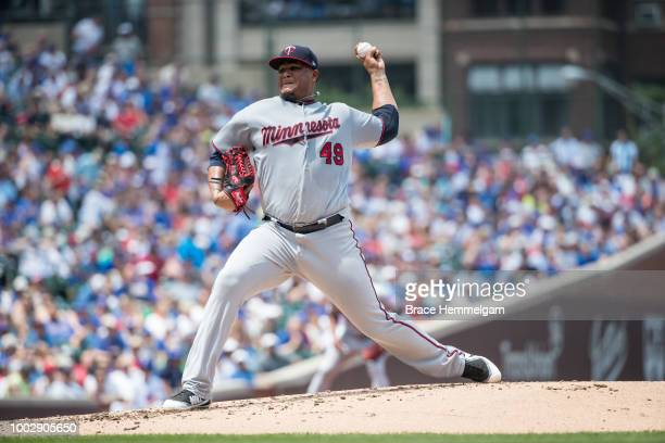 Adalberto Mejia of the Minnesota Twins pitches against the Chicago Cubs on June 30 2018 at Wrigley Field in Chicago Illinois The Cubs defeated the...