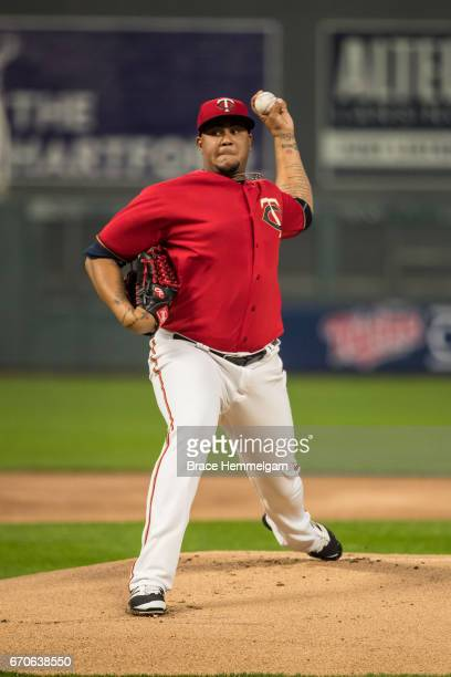 Adalberto Mejia of the Minnesota Twins pitches against the Chicago White Sox on April 14 2017 at Target Field in Minneapolis Minnesota The White Sox...