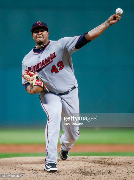 Adalberto Mejia of the Minnesota Twins pitches against the Cleveland Indians during the first inning at Progressive Field on August 7 2018 in...