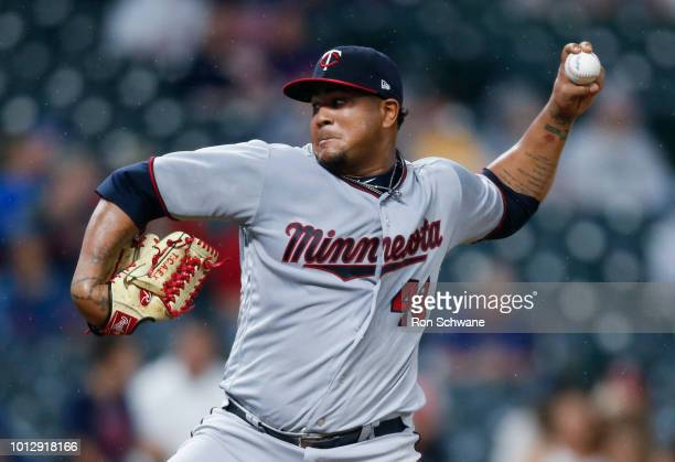 Adalberto Mejia of the Minnesota Twins pitches against the Cleveland Indians during the second inning at Progressive Field on August 7 2018 in...