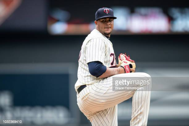 Adalberto Mejia of the Minnesota Twins pitches against the Cleveland Indians on August 1 2018 at Target Field in Minneapolis Minnesota The Indians...