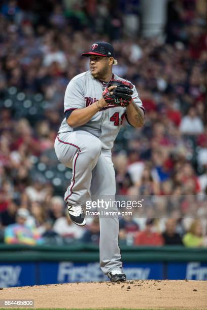 Adalberto Mejia of the Minnesota Twins pitches against the Cleveland Indians on September 27 2017 at Progressive Field in Cleveland Ohio The Indians...