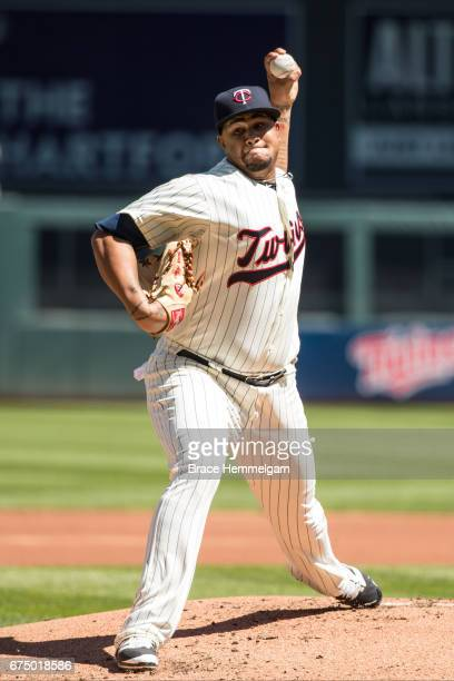 Adalberto Mejia of the Minnesota Twins pitches against the Detroit Tigers on April 22 2017 at Target Field in Minneapolis Minnesota The Tigers...