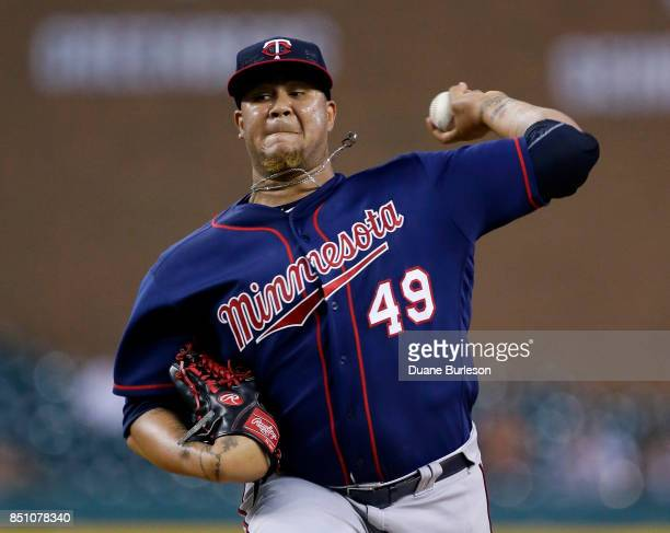 Adalberto Mejia of the Minnesota Twins pitches against the Detroit Tigers during the second inning at Comerica Park on September 21 2017 in Detroit...