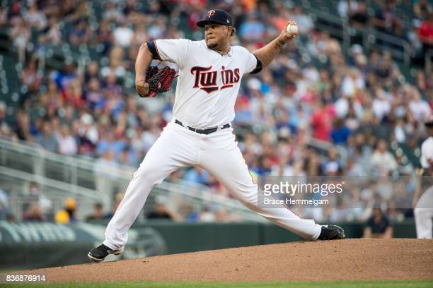 Adalberto Mejia of the Minnesota Twins pitches against the Milwaukee Brewers on August 8 2017 at Target Field in Minneapolis Minnesota The Twins...