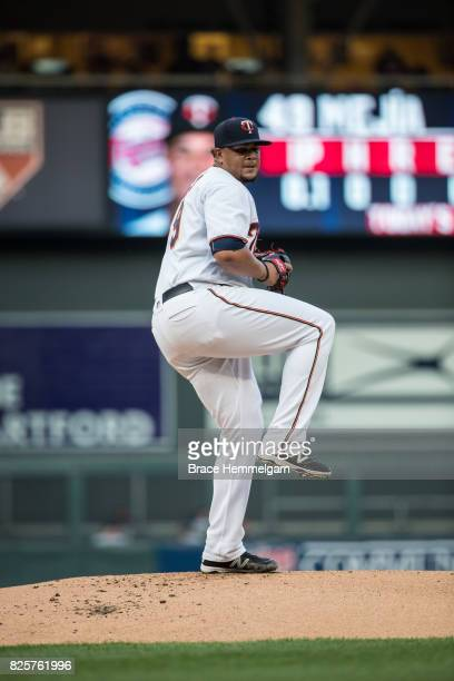 Adalberto Mejia of the Minnesota Twins pitches against the New York Yankees on July 17 2017 at Target Field in Minneapolis Minnesota The Twins...