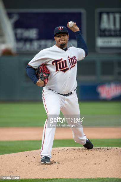 Adalberto Mejia of the Minnesota Twins pitches against the Texas Rangers on August 3 2017 at Target Field in Minneapolis Minnesota The Rangers...