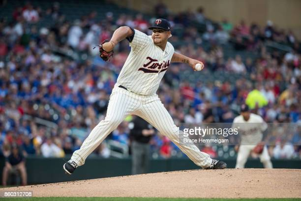 Adalberto Mejia of the Minnesota Twins pitches against the Toronto Blue Jays on September 16 2017 at Target Field in Minneapolis Minnesota The Blue...
