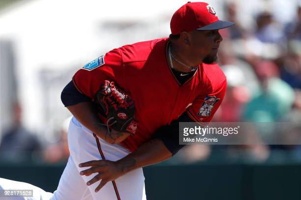Adalberto Mejia of the Minnesota Twins pitches during the first inning of the Spring Training game against the Baltimore Orioles at Hammond Stadium...