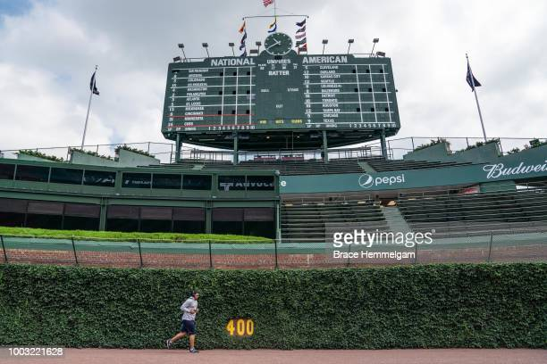 Adalberto Mejia of the Minnesota Twins runs prior to the game against the Chicago Cubs on July 1 2018 at Wrigley Field in Chicago Illinois The Cubs...