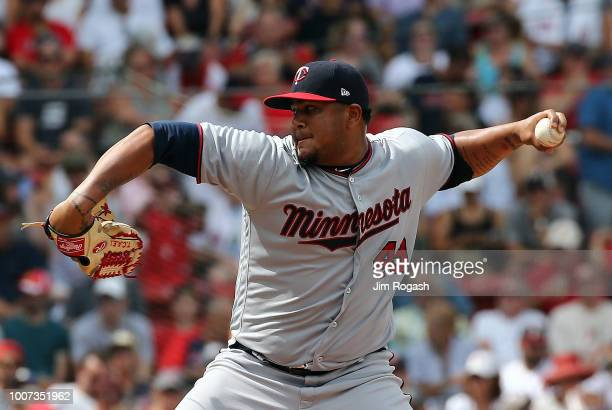 Adalberto Mejia of the Minnesota Twins throws in relief against the Boston Red Sox in the sixth inning at Fenway Park on July 29 2018 in Boston...