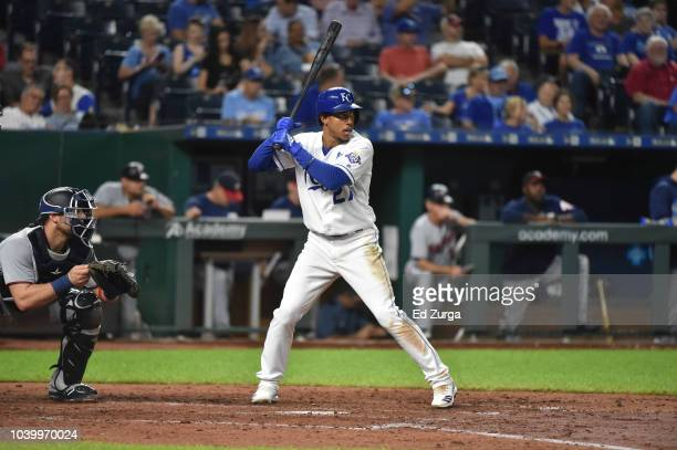Adalberto Mondesi of the Kansas City Royals bats against the Minnesota Twins at Kauffman Stadium on September 13 2018 in Kansas City Missouri