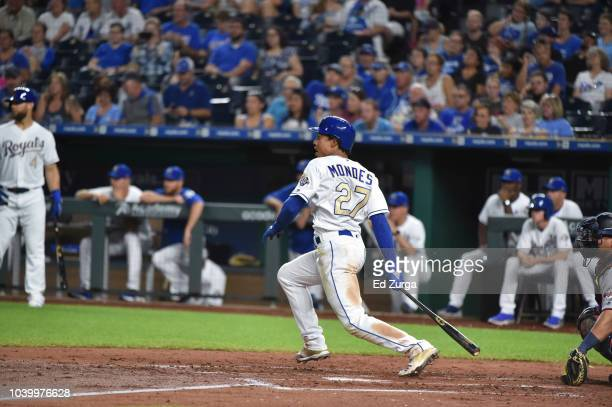 Adalberto Mondesi of the Kansas City Royals bats against the Minnesota Twins at Kauffman Stadium on September 14 2018 in Kansas City Missouri
