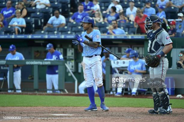 Adalberto Mondesi of the Kansas City Royals bats against the Minnesota Twins at Kauffman Stadium on September 16 2018 in Kansas City Missouri