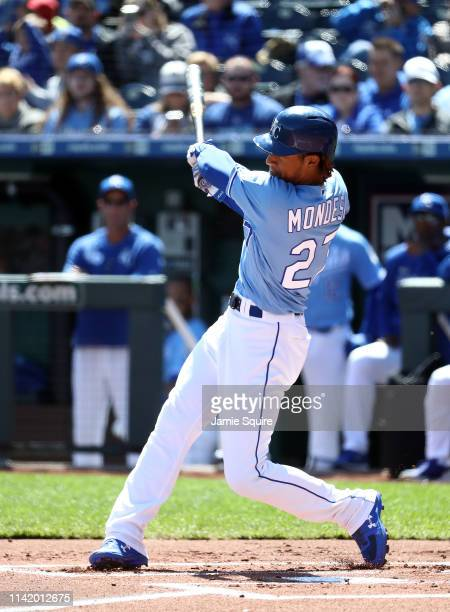 Adalberto Mondesi of the Kansas City Royals bats during the game against the Seattle Mariners at Kauffman Stadium on April 11 2019 in Kansas City...