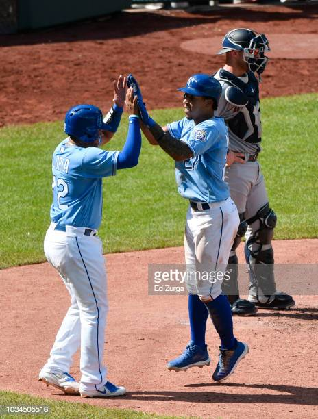 Adalberto Mondesi of the Kansas City Royals celebrates his tworun home run with Meibrys Viloria in the fifth inning against the Minnesota Twins at...