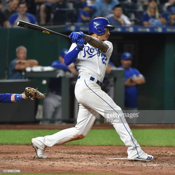 Adalberto Mondesi of the Kansas City Royals hits a double in the sixth inning against the Toronto Blue Jays at Kauffman Stadium on August 14 2018 in...