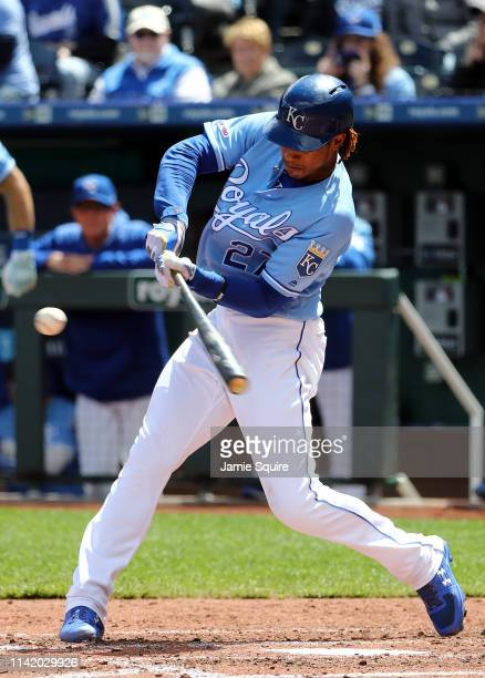 Adalberto Mondesi of the Kansas City Royals hits a home run during the game against the Seattle Mariners at Kauffman Stadium on April 11 2019 in...