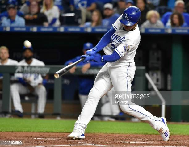 Adalberto Mondesi of the Kansas City Royals hits a home run in the third inning against the Cleveland Indians at Kauffman Stadium on September 27...