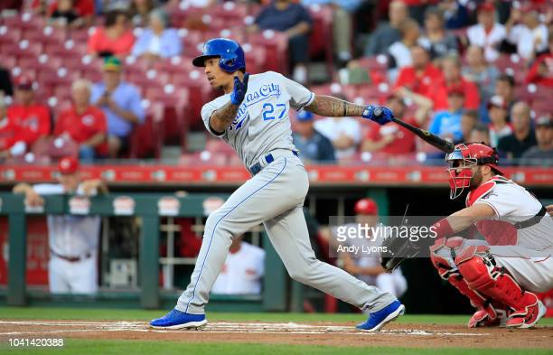 Adalberto Mondesi of the Kansas City Royals hits a single in the first inning against the Cincinnati Reds at Great American Ball Park on September 26...