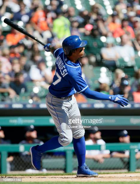 Adalberto Mondesi of the Kansas City Royals hits a solo home run against the Detroit Tigers during the first inning at Comerica Park on September 23...