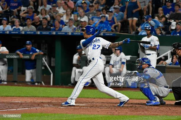 Adalberto Mondesi of the Kansas City Royals hits against the Chicago Cubs at Kauffman Stadium on August 6 2018 in Kansas City Missouri