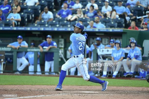 Adalberto Mondesi of the Kansas City Royals hits against the Minnesota Twins at Kauffman Stadium on September 16 2018 in Kansas City Missouri