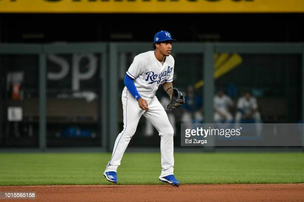 Adalberto Mondesi of the Kansas City Royals in action against the Chicago Cubs at Kauffman Stadium on August 6 2018 in Kansas City Missouri