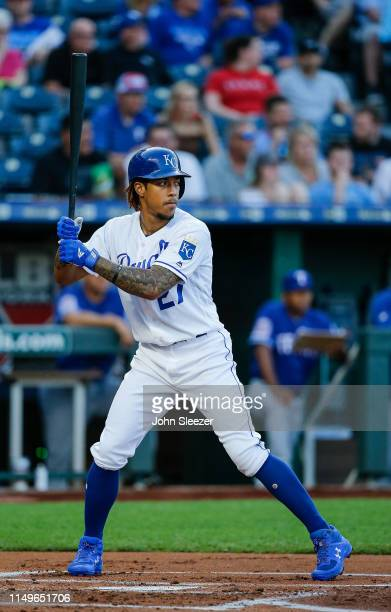 Adalberto Mondesi of the Kansas City Royals in the first inning during the game against the Texas Rangers at Kauffman Stadium on May 15 2019 in...