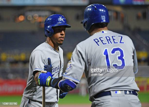 Adalberto Mondesi of the Kansas City Royals is met by Salvador Perez after hitting a solo home run in the third inning during the game against the...