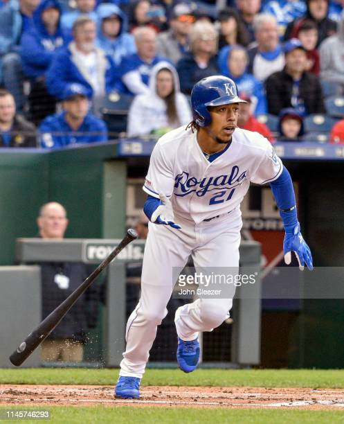 Adalberto Mondesi of the Kansas City Royals leaves the batters box towards first in the first inning during the game against the Los Angeles Angels...