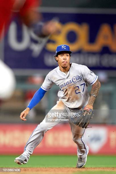 Adalberto Mondesi of the Kansas City Royals makes a play at shortstop against the Minnesota Twins during the game on August 3 2018 at Target Field in...