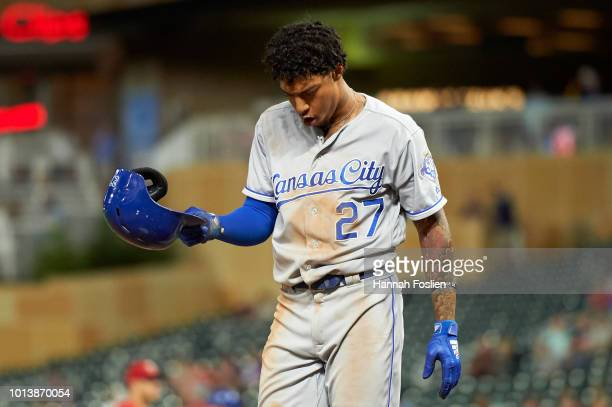 Adalberto Mondesi of the Kansas City Royals reacts to striking out against the Minnesota Twins during the game on August 3 2018 at Target Field in...