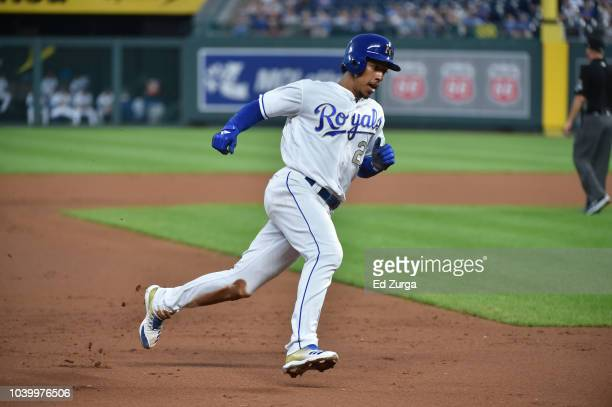 Adalberto Mondesi of the Kansas City Royals rounds third as he heads home to score against the Minnesota Twins at Kauffman Stadium on September 14...