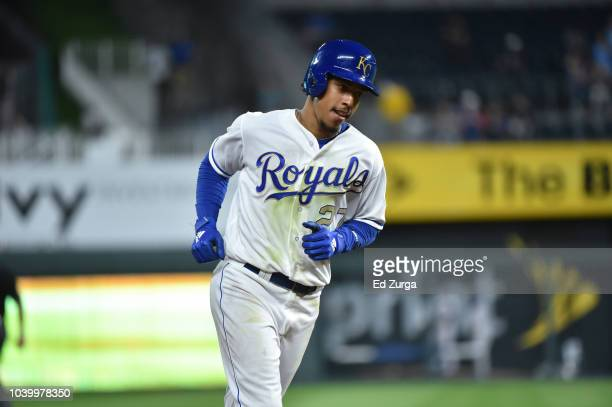 Adalberto Mondesi of the Kansas City Royals runs the bases after hitting a home run against the Minnesota Twins at Kauffman Stadium on September 14...