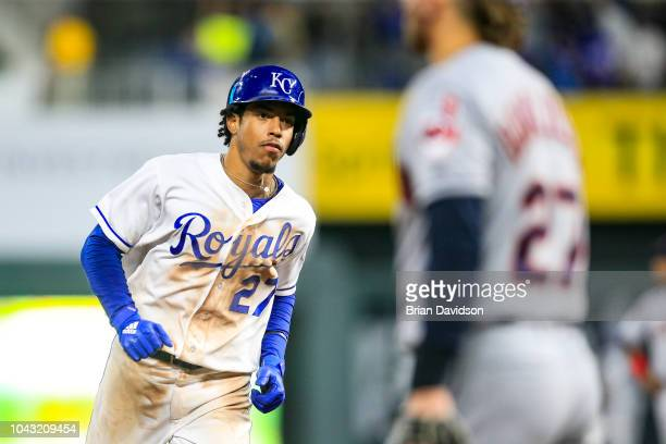 Adalberto Mondesi of the Kansas City Royals runs the bases after hitting a three run home run against the Cleveland Indians during the sixth inning...
