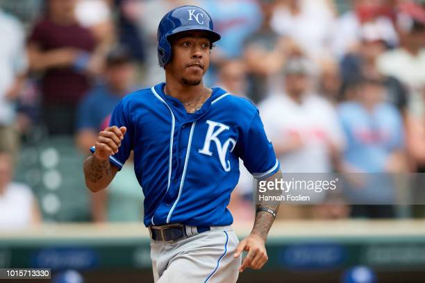 Adalberto Mondesi of the Kansas City Royals runs the bases against the Minnesota Twins during the game on August 5 2018 at Target Field in...