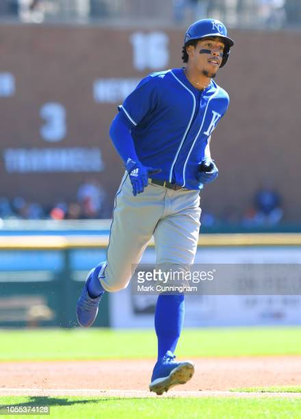 Adalberto Mondesi of the Kansas City Royals runs the bases during the game against the Detroit Tigers at Comerica Park on September 23 2018 in...