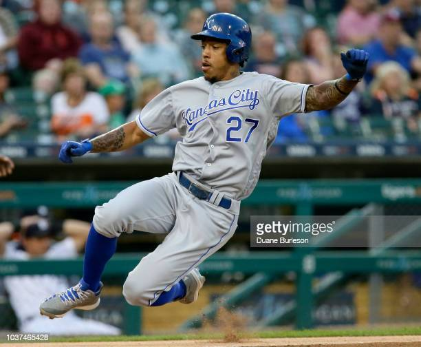 Adalberto Mondesi of the Kansas City Royals scores from first base on a single by Alex Gordon of the Kansas City Royals during the first inning of a...