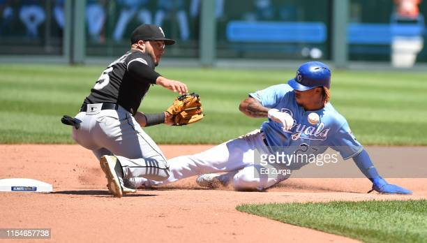 Adalberto Mondesi of the Kansas City Royals slides into second for a steal against second baseman Yolmer Sanchez of the Chicago White Sox in the...