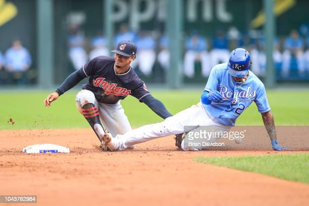 Adalberto Mondesi of the Kansas City Royals steals second base under against Jose Ramirez of the Cleveland Indians at Kauffman Stadium on September...