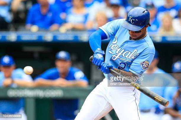 Adalberto Mondesi of the Kansas City Royals swings at the ball during the first inning against the Cleveland Indians at Kauffman Stadium on September...
