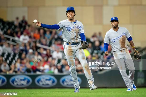 Adalberto Mondesi of the Kansas City Royals throws against the Minnesota Twins on September 7 2018 at Target Field in Minneapolis Minnesota The Twins...