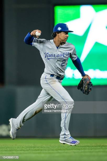 Adalberto Mondesi of the Kansas City Royals throws against the Minnesota Twins on September 8 2018 at Target Field in Minneapolis Minnesota The...