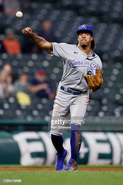 Adalberto Mondesi of the Kansas City Royals throws out Austin Hedges of the Cleveland Indians at first base during the seventh inning at Progressive...
