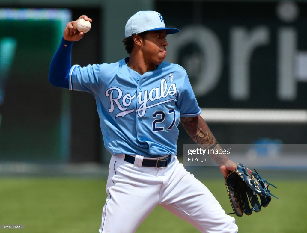 Adalberto Mondesi of the Kansas City Royals throws to first base to get the out on Alex Bregman of the Houston Astros in the seventh inning at Kauffman Stadium on June 17, 2018 in Kansas City, Missouri.