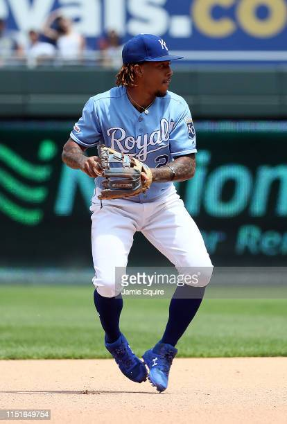 Adalberto Mondesi of the Kansas City Royals throws toward first base during the game against the New York Yankees at Kauffman Stadium on May 25 2019...