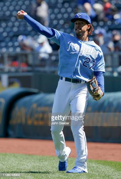 Adalberto Mondesi of the Kansas City Royals warms up before the game against the Chicago White Sox at Kauffman Stadium on March 31 2019 in Kansas...
